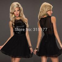 Free shipping Sexy Party Sleeveless Patchwork Black Skater Dress Sexy Clubwear Wholesale 10pcs/lot  2014 Dress New Fashion 21524