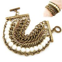 [Mix 15USD] Hot sell Copper Bronze Vintage Bracelet men OT clasp Pearl Multilayer Chunky Chain Bracelet