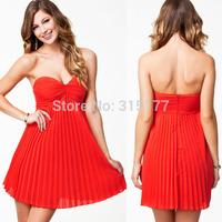 Free shipping Orange Pleated Bandeau Padded Style Evening Dress Sexy Clubwear Wholesale 10pcs/lot  2014 Dress New Fashion 21481