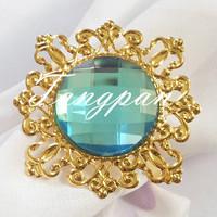 50 gold - Aqua napkin napkin ring  wedding bride wedding shower decorations supper busy bride favored