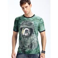 New 2014 summer 3D Night light men t shirt short sleeve man 3D Kobold soldiers Animals Glow t-shirt  V-Neck High Quality L-XXXL