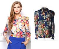 Free Shipping S~XL 2014 New European Fashion Collar Blouses Printed Chiffon Shirt Women Vintage Floral Tops Long Sleeve Blouse