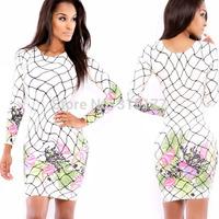 Free shipping Spring Allure Fence Floral Print Mini Dress Sexy Clubwear Wholesale 10pcs/lot  2014 Dress New Fashion 21565