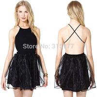 Free shipping Cross Open Back Little Black Skater Dress Sexy Clubwear Wholesale 10pcs/lot  2014 Dress New Fashion 21552