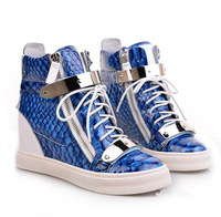 GZ High-top sneaker with wedge in calfskin and blue crocodile print with side zips and double sliver plates Ankle Boots
