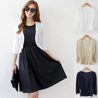 Hot sale Women New 2015 Fashion Spring Summer Fall Korean Thin Three quarter sleeve Shawl Knitted Sweater Cardigan Jacket female