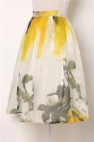 2014 New Summer Autumn Girl Vintage Hepburn Style Organza Floral Print Pleated Midi Skirt High Waist Swing Skirt Ball Gown Skirt