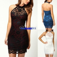 New Ladies Novelty Scalloped Neck Sleeveless Women's Cocktail Party Elegant Mini Lace Floral Dress