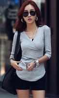 NEW 2014 AUTUMN FASHION WOMEN 100%COTTON V-NECK THREE QUARTER SLEEVE SLIM T SHIRT M-4XL