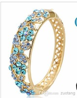 Wholesale - Butterfly Gift Women China Cloisonne Enamel Bracelets Engraved Hollow Austrian Rhinestones Crystal Bangle Vintage 18