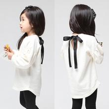 Free Shipping, autumn lantern sleeve lacing paragraph girls clothing baby sweatshirt Girls white T-shirt(China (Mainland))