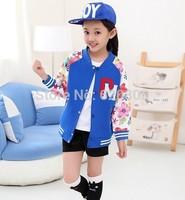 Kids girls 2014 spring new round neck cardigan big virgin Floral Korean version of casual clothing for children baseball jacket