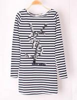 lacegirl's New 2014 Autumn Harajuku women striped letter print long sleeve o-neck Long T-shirt Top  female s m l