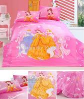 2014 New Pink Snow White bedding sets 4pcs childrens home textile cotton princess bedclothes bed sheet queen cartoon duvet cover