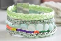 Hot Selling Brazil Hipanema Bracelet with Green Handmade Wrapped Rhinestone Chain Holiday Bracelets Jewelry