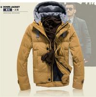 Hot New 2014 Down Jacket Winter Jacket Men Coat 90% White Duck Long Parkas Outwear Hooded Real Fur Men's Parka Big Size 3XL