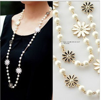 Aliexpress hot sell women's 2014 cheap vintage beaded necklace wholesale pearl necklace long chain pearl necklace free shipping