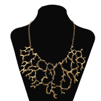 Aliexpress hot sale coral branch-shaped fashion alloy necklaces large vintage bib necklace free shipping women's accessory
