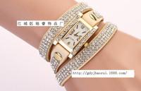 Fashion Latest Popular Hawaiian Style Sparkling Rhinestone Long Leather Sling Chain Quartz Watches women's Dress Watches