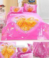 Pink Princess comforter bedding sets queen 4pcs childrens home textile cotton bedclothes bed sheet cartoon quilt/duvet cover