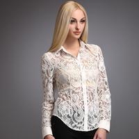 women's autumn casual lace blouse shirts fashion women work wear slim blusas femininas 2014 long sleeve office white blouse