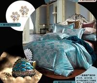Noble Silk Bedding Set  4pcs /Luxury Comforter Set/Jacquard Duvet Cover /Bed Sheet/Bed Cover /Blanket