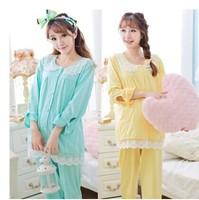 Spring Autumn Cotton Long Sleeve Maternity Clothing Pregnant Women Pajamas Postpartum Breastfeeding Nursing Tracksuit Sleepwear