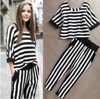 2pcs! clothing set Women Sports Suit Clothing 2014 Summer Female Fashion Cotton Sportswear Top + Pants Femininas