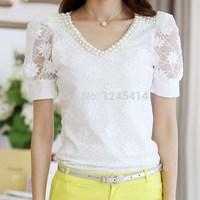 new 2014 summer Women lace blouse V-neck short-sleeved shirt Slim thin beaded chiffon shirt bottoming shirt
