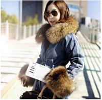 Elegant 9126 thickening thermal super large fox fur loose denim wadded jacket outerwear