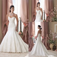 Beautiful Sweetheart Applique Low Back Wedding Gown Mermaid Bridal Gowns for Girls 2014 New Arrival