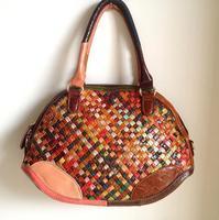 2014 New Women Sheepskin Genuine Leather Handbag Beatuiful Woven Patchwork Shell Shoulder Messenger bag Tote