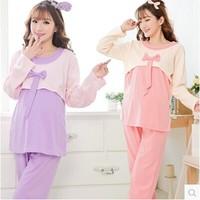 Spring Autumn Cute Maternity Clothing Knitted Cotton Long Sleeve Breastfeeding Bow Pregant Women Tracksuit Pajamas Set Sleepwear