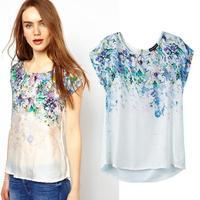 [B-311] 2014 Brand ladies' retro floral print blouse shirt elegant women silk patchwork blouse fashion women short sleeve blusas