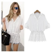 New Arrival Women lace patchwork High quality blouse&shirts Cotton White Bat Long Sleeve casual shirt Fashion Tops 2014Autumn