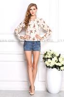 2014 fashion women's fashion vintage cross print turn-down full sleeve chiffon blouse  free shipping