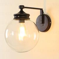 Nordic American retro rustic glass  Square Silver Shade  wall light 1 lights 25*37*34 cm