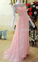 DED8 Bateau Crystals Sheer Neckline Long Pink Evening Dresses Vintage Sleeveless Criss Cross Ruched Bodice Elegant