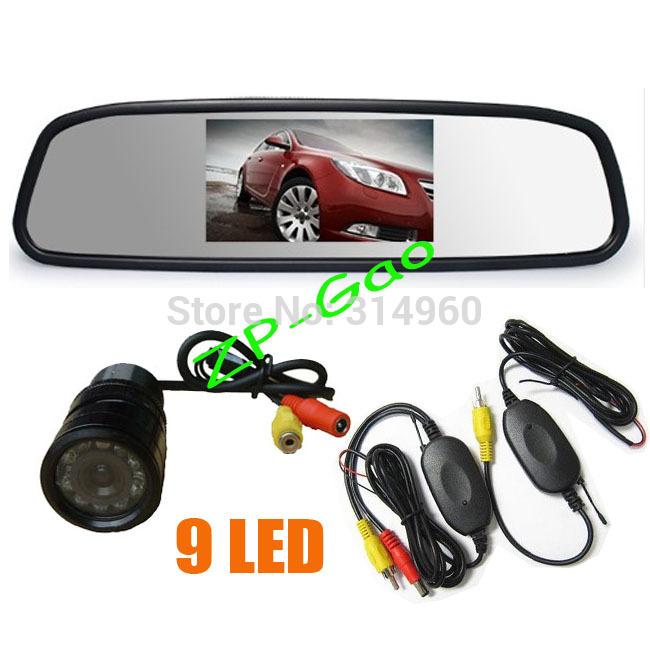 "Wireless 9 IR LED Reversing Camera Car Rear View Kit Waterproof + 4.3"" LCD Mirror Monitor 10pcs/lot(China (Mainland))"