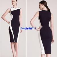 2014 New bandage Dress Women Elegant Sleeveless O-Neck Stretchy Sheath Bodycon Party novelty Pencil dresses Plus Size S-XL