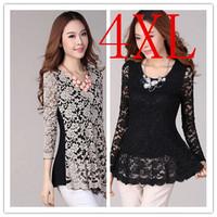 Free shipping women lace blouses tops blusa renda big size crochet blouse female shirts black 3xl 4xl long sleeve clothing