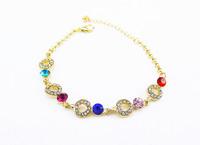 DS024 6pcs/lot 2014 Good Sale Bracelet Wholesale High-quality Colorful Rhinestone Rose Gold Jewelry Accessories Bracelet Bangles
