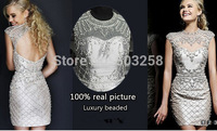DED21 100% Real Sample Luxury Full Hand Beaded Backless 2014 Fashion Cocktail Dress Short Style