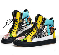 Real leather GZ NEW Womens Printed Mixed colors Zipper Ankle Lace Up Flat Sneakers High Top Sneakers Boots