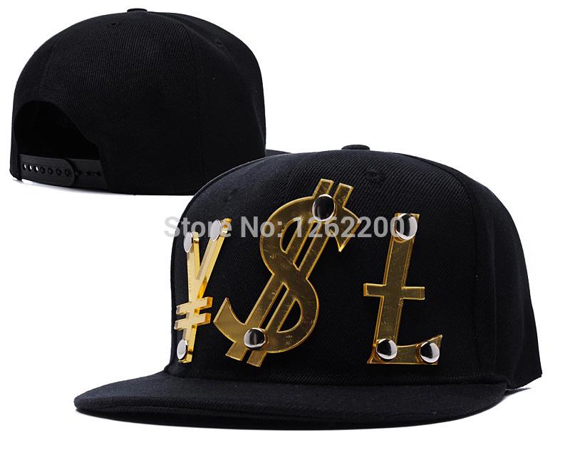 Black Hiphop crystal acrylic gold letter custom logo snap back hats Adjustable Baseball Cap snapback hats wholesale flat hats(China (Mainland))