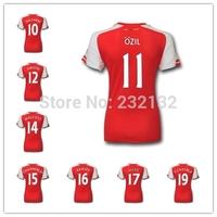 Women Top Quality 14/15 The Gunners Home Red Lady Soccer Jersey Giroud Wilshere Ozil Walcott Chamberlain Alexis Ramsey Cazorla
