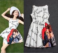 Print love story letters embrace kiss patterns white sleeveless sundress 2014 new fashion brand v neck one piece short dresses