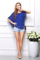2014 fashion women's fashion solid color O-neck batwing sleeve chiffon t-shirt shipping