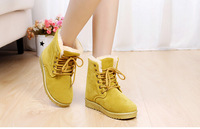 New 2014 Europe Women Fashion Winter Ankle Suede Snow Boots Flat Heel Platform Flock Martin Booty Woman Casual Shoes Lace-UP 41