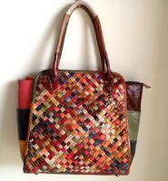 2014 New Women High quality Cowhide Genuine Leather Handbag Fashion Woven Patchwork Shoulder Cross body Bag Free Shipping